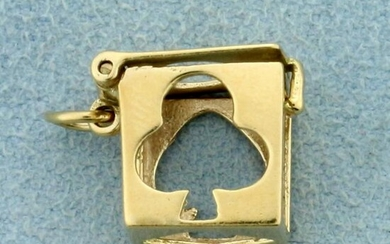 Playing Card Suit Box Charm in 14K Yellow Gold