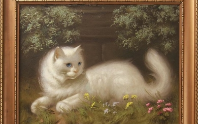Portrait of a White Cat Oil on Canvas