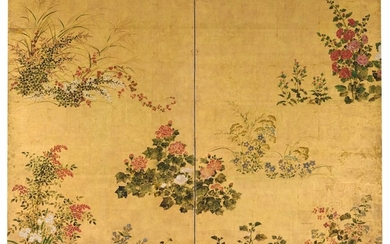 RIMPA SCHOOL EDO PERIOD, 17TH-18TH CENTURY | GRASSES AND FLOWERS