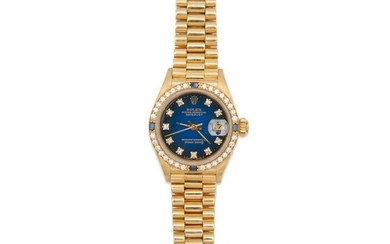 "ROLEX 18K Gold, Diamond, and Sapphire ""Oyster Perpetual"
