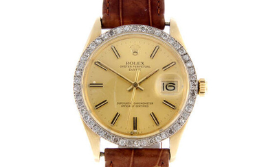 ROLEX - a gentleman's 14ct yellow gold Oyster Perpetual Date wrist watch.