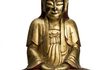 Rare Gilt Lacquered Wood Statue of Bodhisattva Guanyin.