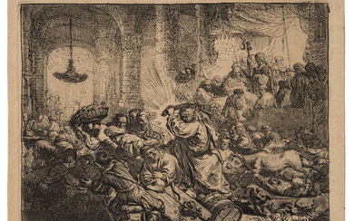 Rembrandt van Rijn (1606-1669) Christ driving the money changers from the temple