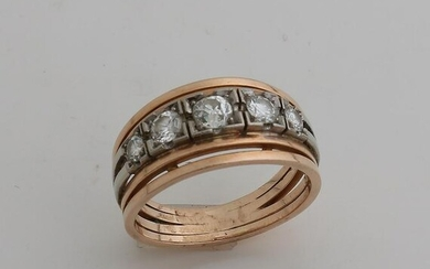 Ring in white and red gold, 585/000, with
