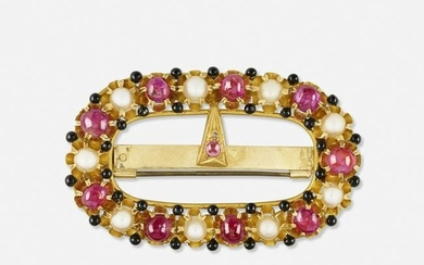 Ruby, cultured pearl, and gold buckle brooch