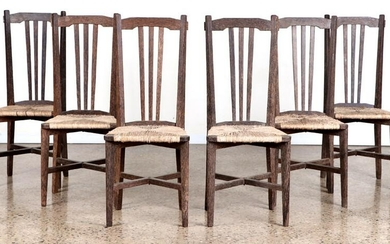 SET 6 FRENCH PALM WOOD DINING CHAIRS C.1940