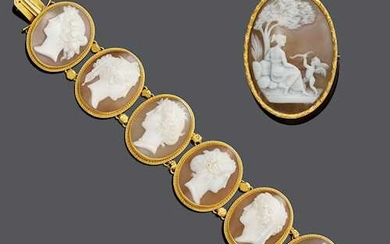 SHELL CAMEO AND GOLD BRACELET, Rome, ca. 1860, WITH -BROOCH, ca. 1900.