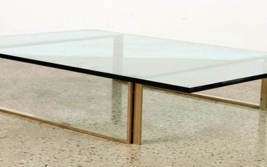 SOLID BRONZE GLASS COFFEE TABLE BY CHURBA C.1965