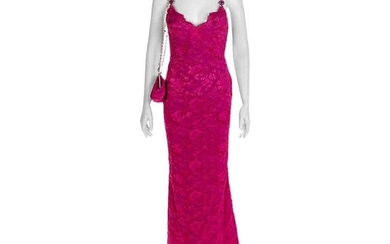 S/S 1996 ICONIC VINTAGE VERSACE ATELIER PINK LACE GOWN