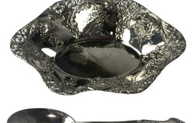 """STERLING SILVER 7"""" SERVING DISH WITH SPOON"""