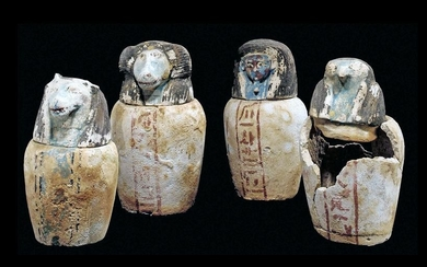 Rare Set Egyptian 26th Dynasty Canopic Jars - Art Loss