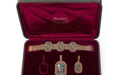 Set in 18K yellow gold (750‰) comprising a...