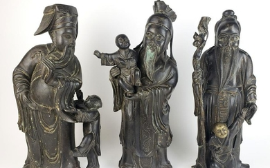 Set of 3 Large Chinese Bronze Figures Holding 3 Smaller