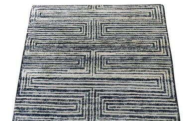 Silk With Oxidized Wool Hand-Knotted Sample Rug