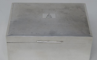 Silver Table Cigar Box of Rectangular Weighted Form with Eng...