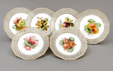 Six fruit plates, Nymphenburg, brand 1925-75, from the...