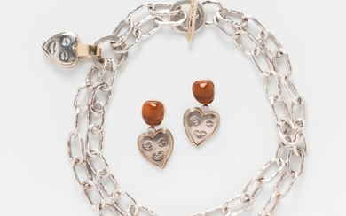Sterling Silver and 14kt Gold Necklace and Earrings