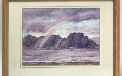 Stoddard Signed, Ocean Cliff, Watercolor