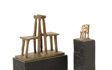 Sven Dalsgaard: Two small sculptures, 1976 and 1983. Both signed and dated. Bronze on bases of slate and black painted wood resp. (2)
