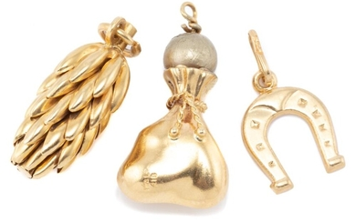 THREE 18CT GOLD CHARMS; a coin bag with gilt faux pearl, a horseshoe and a pine cone, total wt. 8.12g.