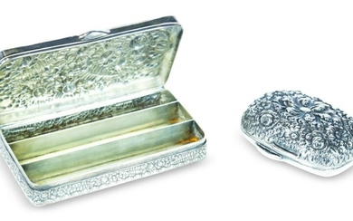 """TWO TIFFANY AND CO. """"REPOUSSE"""" STERLING BOXES."""