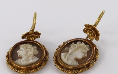 Tests as 18ct yellow gold oval cameo drop earrings with flor...
