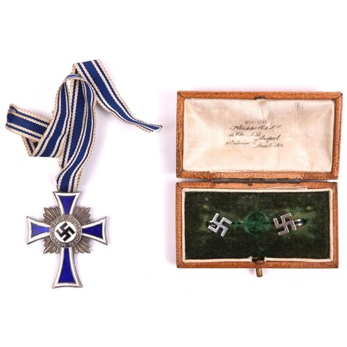 Third Reich Mother's Cross in silver, with ribbon; and a pai...