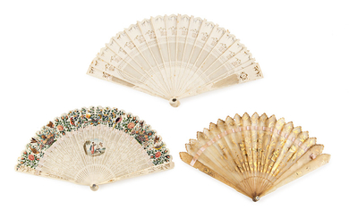 Three Chinese folding fans for export with sticks in ivory, bone and antler, first half of the 19th Century.