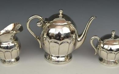 Three Piece Figueras Mexican Sterling Silver Tea Set