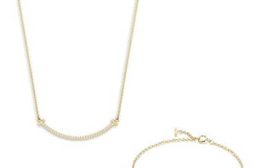 Tiffany & Co., A Diamond and Gold 'Tiffany T Smile' Necklace and Bracelet Set, Tiffany & Co.