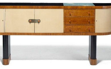 Torkov: A unique Zebrano sideboard on two black lacquered, oval pillar-legs. Black glass top and rounded front with three drawers and four doors.
