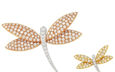 Tricolor Gold and Diamond Dragonfly Brooches
