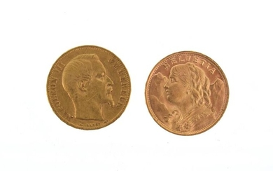 Two 20 franc gold coins