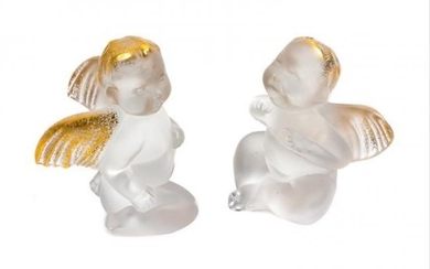 Two Lalique Angel Figures Height 3 inches.