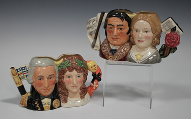 Two Royal Doulton limited edition small two-headed character jugs, comprising Jane Eyre and Mr Roche