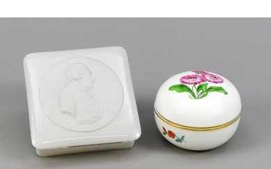 Two lidded boxes, round l