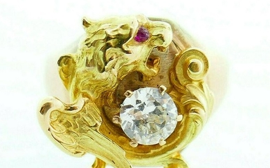 Victorian Griffin Winged Lion Chimera 10k Yellow Rose