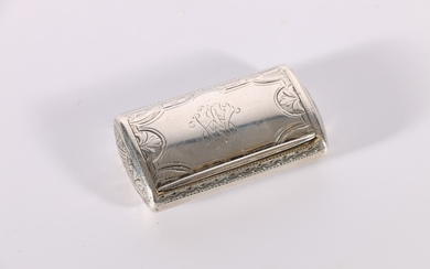 Victorian silver snuff box of domed rectangular form with in...