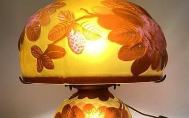 Vintage GALLE Reproduction Art Glass Lamp. Dome shade.