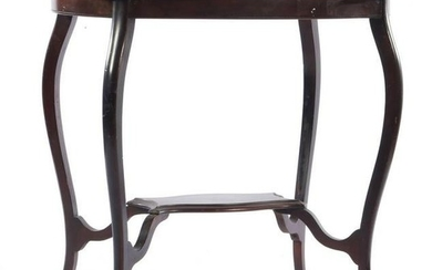 Walnut side table with contoured top and bottom shelf