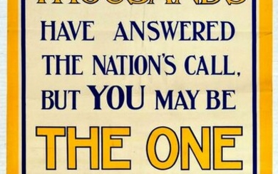 War Poster You May Be the One Recruitment WWI UK