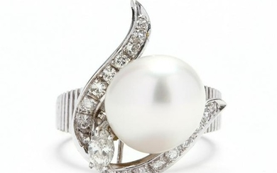 White Gold, Pearl, and Diamond Ring