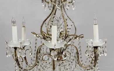 SIX-LIGHT, GOLD TONE METAL AND CRYSTAL CHANDELIER
