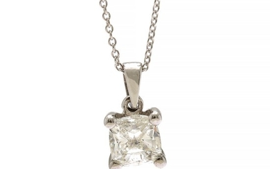 A diamond solitaire pendant set with a cushion-cut diamond, mounted in 14k white gold. Accompanied by necklace of 14k white gold.