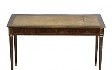 """Louis XVI style """"bureau plat"""" table in mahogany with brass applications and leather top, early 20th Century."""