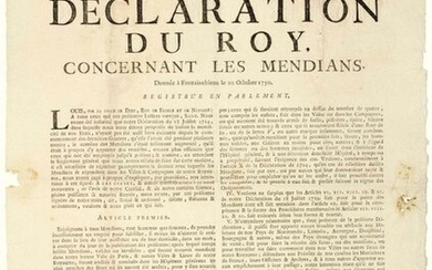 """1750. LANGUEDOC. BANISHMENT OF BEGGARS. """"Declaration of the KING (Louis XV), concerning Beggars."""". Given in FONTAINEBLEAU (77) on October 20, 1750 - in 5 Articles: """"1°) Let us enjoin all Beggars, both men and women, to take a job incessantly to..."""
