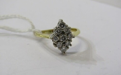 18ct YELLOW GOLD NAVETTE SHAPED DIAMOND CLUSTER RING, In exc...