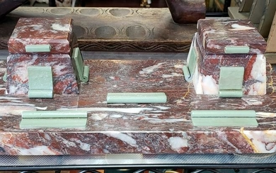 1920's French Art Deco Red/White Marble Double Inkwell