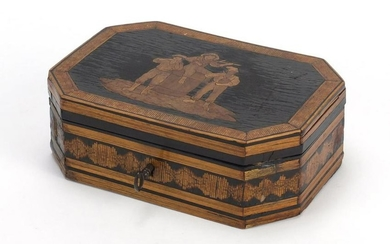 19th Century Italian Sorrento ware box with marquetry
