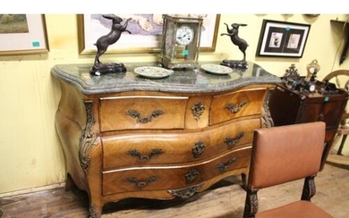 19th Century Style Kingwood Commode Chest with Marble Top ov...